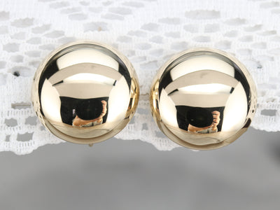 Vintage Gold Button Screw Back Earrings