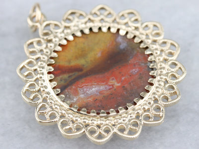 Yellow Gold Jasper Filigree Pendant