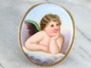 Antique Painted Porcelain Brooch