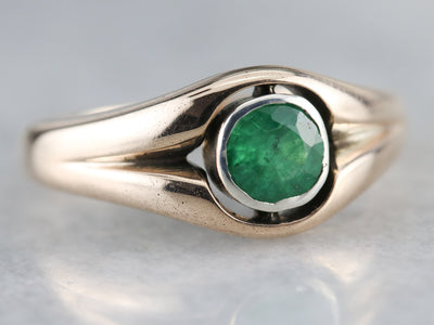 Mix Metal Emerald Solitaire Ring