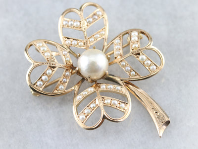 Antique Pearl Four Leaf Clover Brooch or Pendant