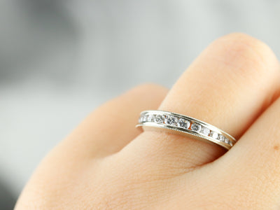 Domed Diamond White Gold Wedding Band