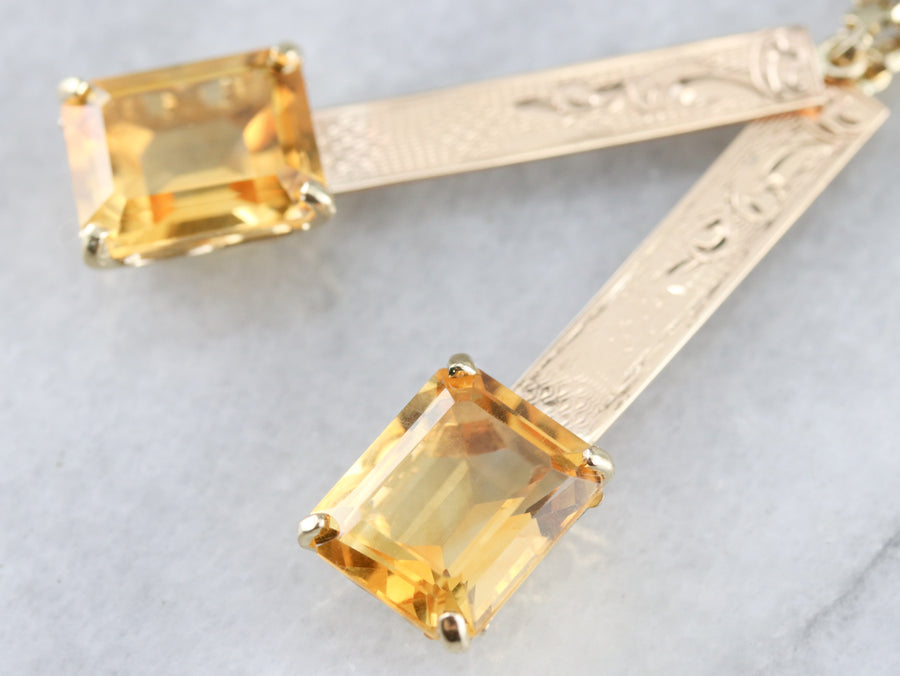 Citrine Gold Bar Drop Earrings