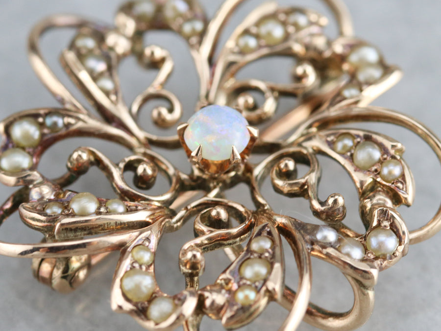 Antique Opal Seed Pearl Floral Brooch Pendant