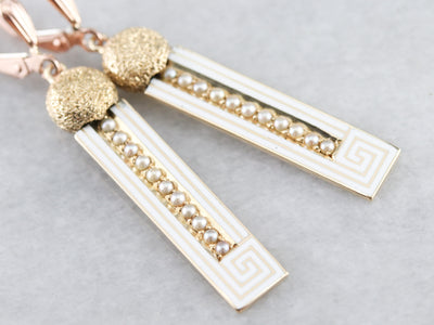 Enamel Greek Key and Seed Pearl Drop Earrings