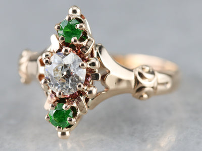 Victorian Old Mine Cut Diamond and Garnet Ring