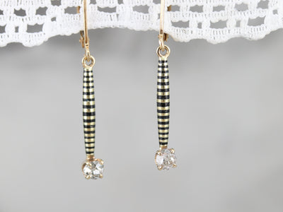 Antique Old Mine Cut Diamond Drop Earrings