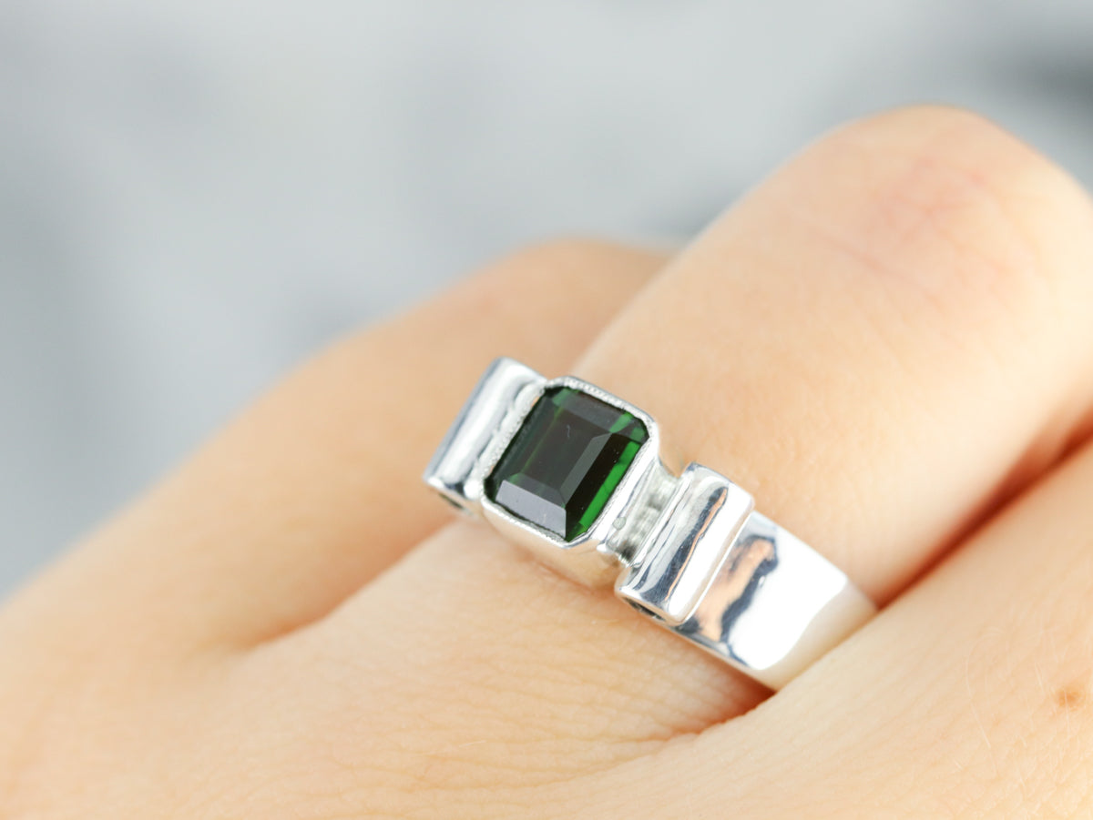 Sterling Silver Green Tourmaline Solitaire Ring