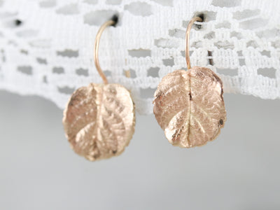 Vintage Gold Leaf Drop Earrings