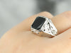Art Deco Black Onyx Unisex Ring