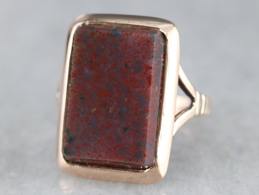Ladies Mid-Century Gold Bloodstone Ring