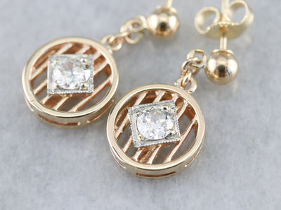 Old Mine Cut Diamond Drop Earrings