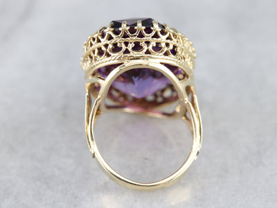 Oversized Amethyst Cocktail Ring in Yellow Gold