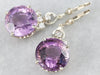 White Gold Amethyst and Diamond Drop Earrings