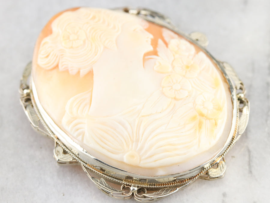 Large Art Deco Cameo Statement Pin or Pendant
