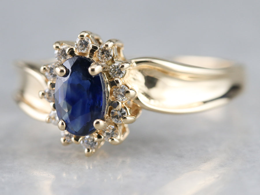 Sapphire and Diamond Bypass Halo Ring