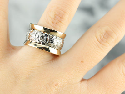 Patterned Two Tone Gold Wide Band