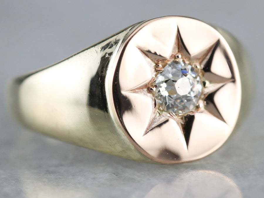 European Cut Diamond Star Gold Ring