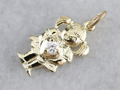 Vintage Little Girl Diamond Charm Pendant