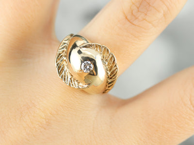 Diamond Solitaire Gold Feather Ring