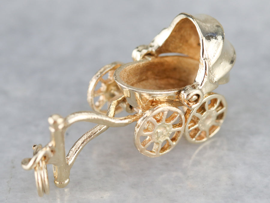Vintage Baby Buggy Gold Charm