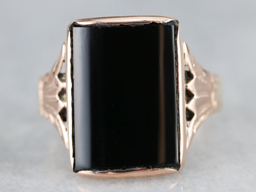 Rose Gold Victorian Black Onyx Ring