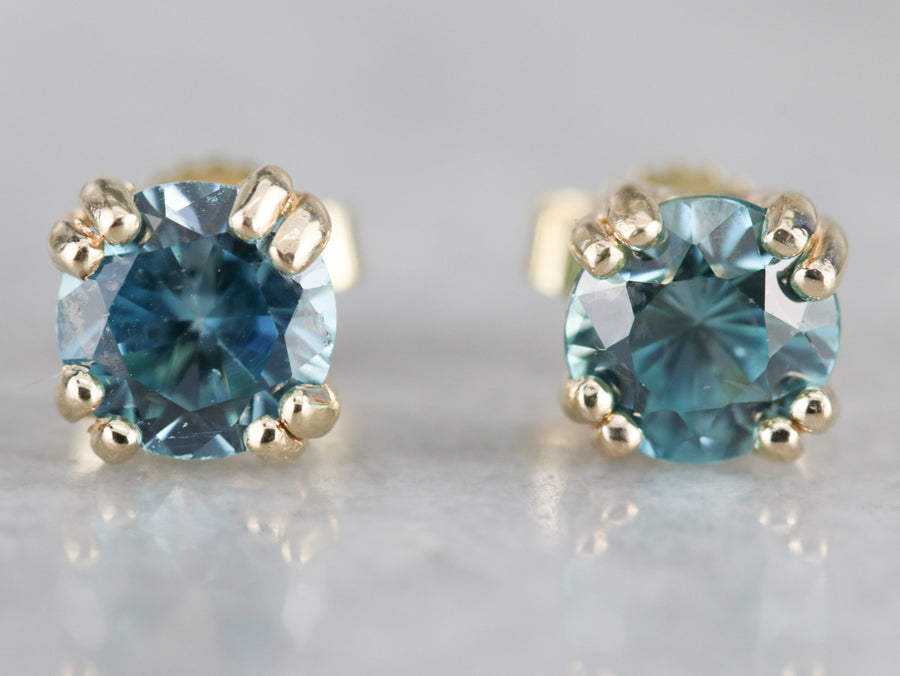 Yellow Gold Blue Zircon Stud Earrings