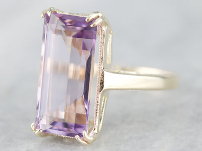 Lilac Hued Amethyst Solitaire Ring