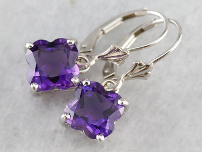 Fancy Cut Amethyst Drop Earrings