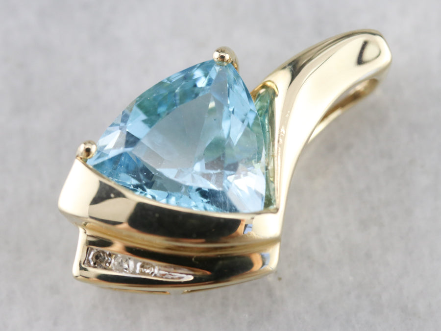 Modernist Blue Topaz and Diamond Pendant