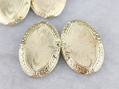 Etched Yellow Gold Early Retro Era Cufflinks