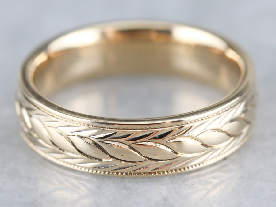 Vintage Wheat Pattern Wedding Band