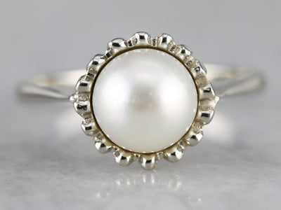 White Pearl Solitaire Ring in White Gold