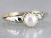 Retro Era White Pearl Solitaire Ring