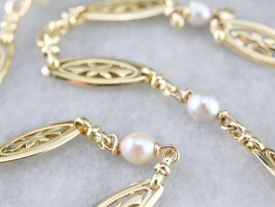 Retro Pearl and Gold Filigree Link Chain Necklace