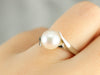 White Gold Modernist Pearl Bypass Ring