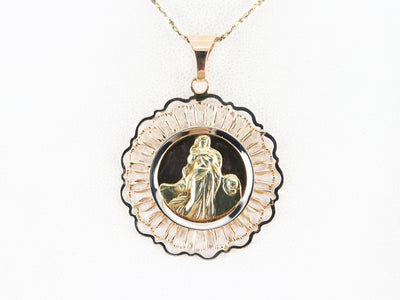 Mid Century Religious Medallion in 18K Yellow Gold