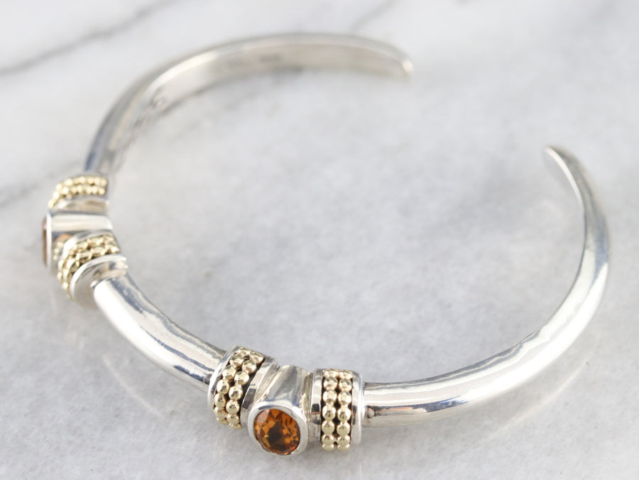 Mixed Metal Citrine Cuff Bracelet