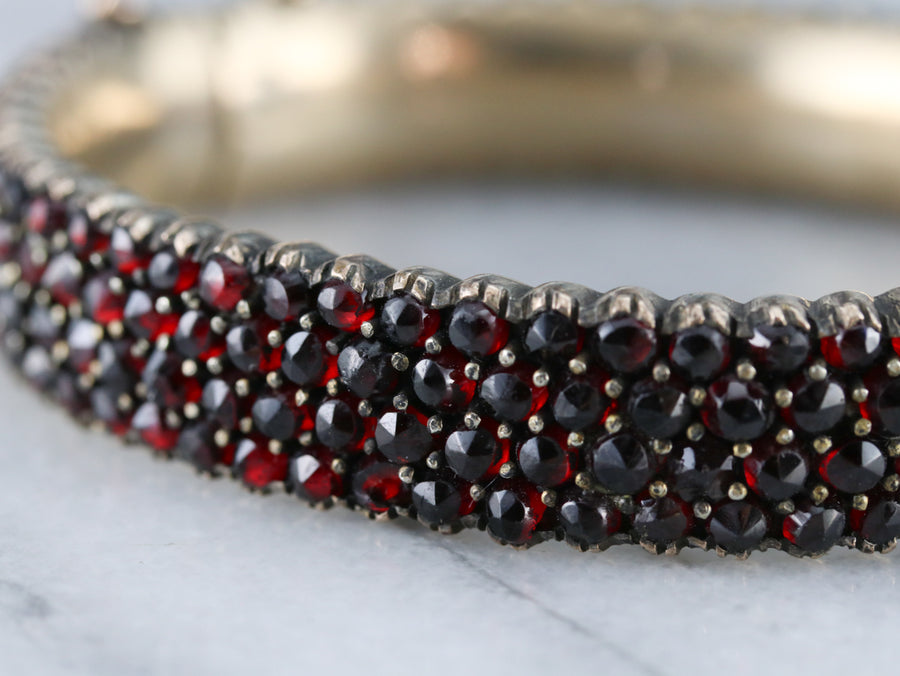 Antique Rose Cut Garnet Bracelet
