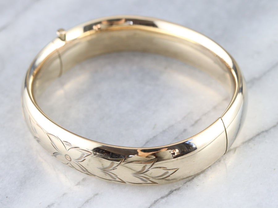 Engraved Floral Bangle Bracelet