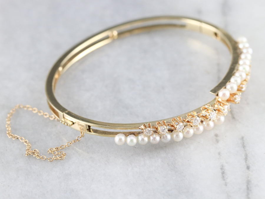 Buttercup Diamond and Pearl Bangle Bracelet