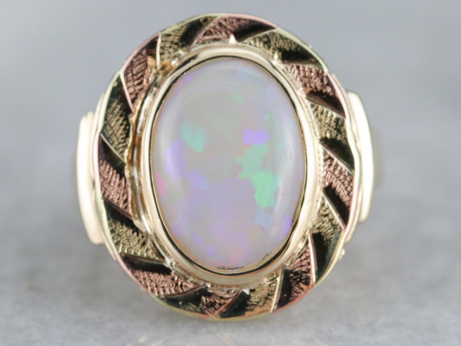 Opal Solitaire Statement Ring