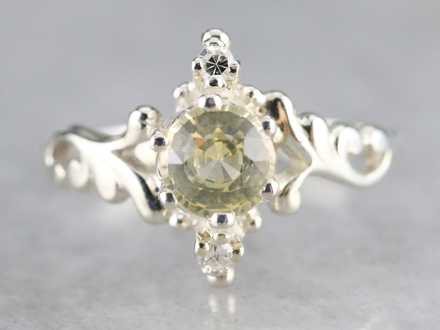 Sterling Silver Yellow Sapphire and Diamond Ring