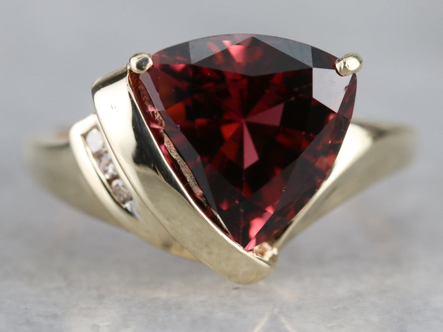 Trillion Cut Pink Tourmaline Diamond Ring