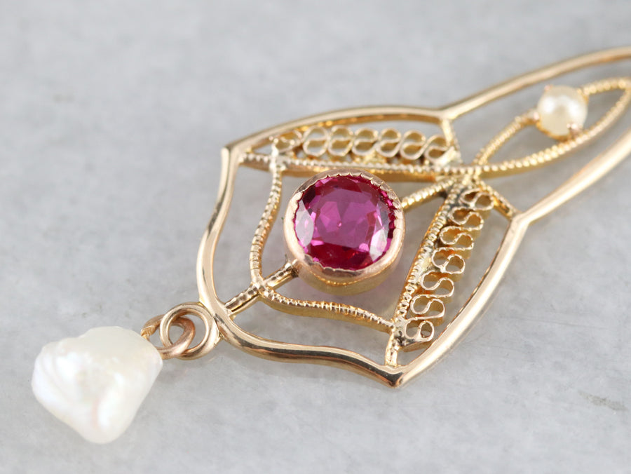 Art Nouveau Ruby and Freshwater Pearl Lavalier Pendant
