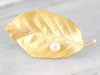 High Karat Gold Pearl Leaf Brooch