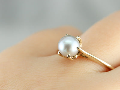 Grey Pearl Solitaire Ring in Yellow Gold
