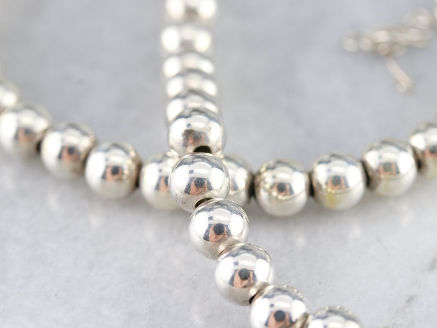 Sterling Silver Beaded Ball Necklace