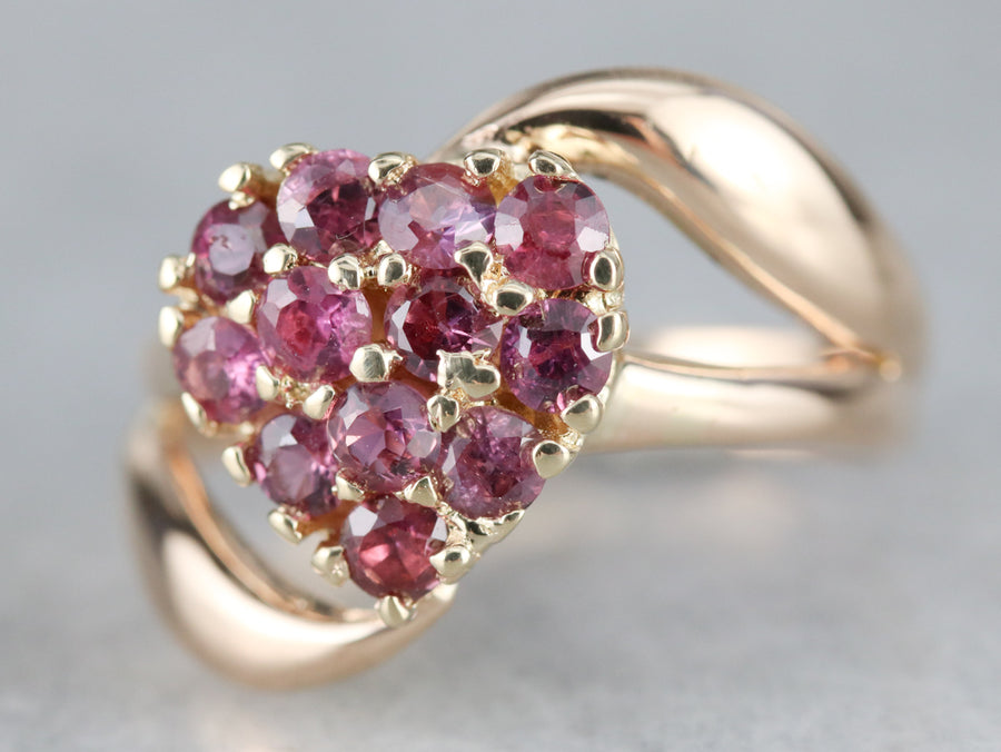 Ruby Heart Bypass Ring