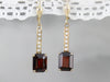 Seed Pearl and Garnet Drop Earrings